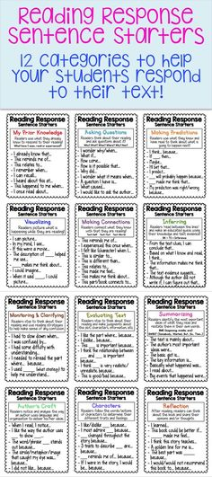 Top Ten Everyday Living Insurance Plan Misconceptions Over 80 Sentence Starters Among 12 Different Categories Perfect For Reading Response Journals Includes Small And Large Charts. Reading Lessons, Reading Strategies, Reading Skills, Reading Response Activities, Partner Reading, Reading Goals, Guided Reading Groups, Reading Tips, Reading Resources