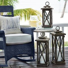 Light up the night with outdoor candles and outdoor lanterns. These decorative lighting solutions are perfect for evening entertaining on your patio. Outdoor Candles, Outdoor Dining, Outdoor Spaces, Outdoor Decor, Outdoor Ideas, Outdoor Chairs, Dining Table, Luxury Home Decor, Furniture Collection