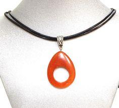 Natural Gemstone Red Aventurine Huge Pendant Necklace Fengshui Chakra USA  #Handmade #Pendant