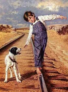 Railroad ties Paintings I Love, Beautiful Paintings, Illustrations, Illustration Art, Image 3d, Country Art, Western Art, Dog Art, American Artists