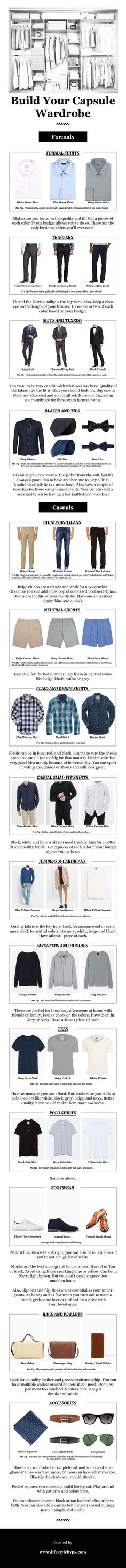 Capsule Wardrobe For Men eBook Build Your Capsule Wardrobe from the ground up Infographic Capsule Wardrobe Men, Mens Wardrobe Essentials, Men's Wardrobe, Wardrobe Basics, Mens Style Guide, Men Style Tips, Mens Fashion Blog, Fashion Advice, Men's Fashion