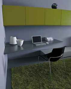 Wall-mounted desk with diagonal line.