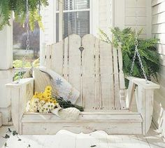 I love the look of this Nantucket Outdoor Porch Swing - I want this for my front porch! Outdoor Spaces, Outdoor Living, Outdoor Decor, Outdoor Furniture, Outdoor Swings, Porch Furniture, Wooden Furniture, Furniture Ideas, Palette Deco