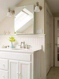 Beadboard bathroom. I like bringing it up higher, like about where you would hand towels or want a shelf
