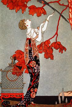 Illustration de mode française : Georges Barbier, 1914, gris-rouge