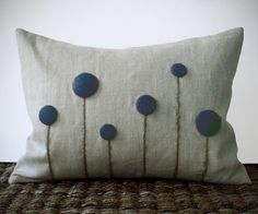 Navy Blue Billy Ball Flower Pillow in Natural Linen by JillianReneDecor #Craspedia #Spring #Home #Decor #Wedding #Gift