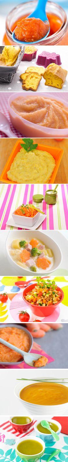 Recettes pour bébé à la carotte. Plus de recettes pour bébé sur www.enviedebienmanger.fr/idees-recettes/recettes-pour-bebe