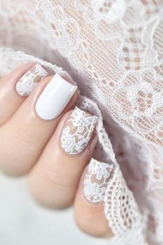 DIY & Tips Nails Art 2017 / 2018 Nailstorming – Saint Valentin [Bundle Monster Basic Instinct Collection – VIDEO] – White lace nail art -Read More – Beautiful Nail Art, Gorgeous Nails, Love Nails, Pretty Nails, My Nails, Polish Nails, White Lace Nails, Lace Nail Art, Lace Art
