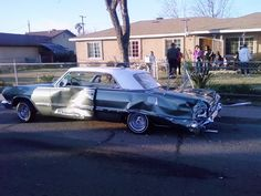 www.layitlow.com Chevrolet Impala, Chevy, Crying Shame, Damaged Cars, Ford Classic Cars, Low Rider, Car Crash, Nice Cars, Old Cars