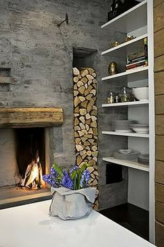 26 Impressive Wood Log Wall ideas compartment for wood storage Interior Exterior, Interior Design, Log Wall, Firewood Storage, Firewood Holder, Fireplace Design, Fireplace Ideas, Wood Fireplace, Small Fireplace