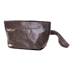 Kisim Kiss Grey Leather Travel Bag - Use as a clutch or cosmetic bag.