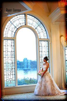 Disney bride at the wedding pavilion - Disney Wedding at WDW: Shelby + James