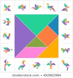 Find Tangram Set Task Answer Cards Captions stock images in HD and millions of other royalty-free stock photos, illustrations and vectors in the Shutterstock collection. Tangram Printable, Printable Puzzles For Kids, Preschool Activities At Home, Geometry Activities, Quilt Square Patterns, Pattern Blocks, Board Games For Kids, Kids Board, Mathematics Geometry