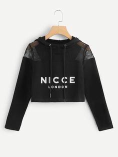 To find out about the Mesh Panel Letter Print Hoodie at SHEIN, part of our latest Sweatshirts ready to shop online today! Teen Fashion Outfits, Trendy Outfits, Girl Outfits, Fashion Women, Trendy Hoodies, Crop Top Outfits, Teenager Outfits, Korean Outfits, Sweat Shirt
