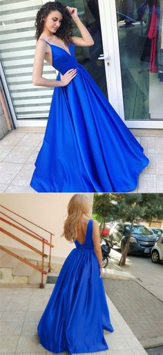 modest royal blue v neck long prom dresses, simple backless evening gowns with pleats, unique spaghetti straps a line party dresses