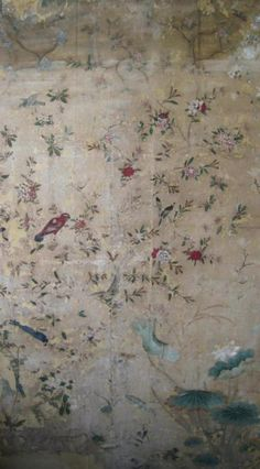 Recently conserved panel of Chinese wallpaper in the collection of the V&A, formerly at Eltham Lodge. ©Victoria and Albert Museum, London
