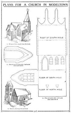 Plush Possum Studio: Family Fun Project: A Church Model Out of Paper. Note : They suggest a month or more to complete this project. Christmas Paper, Christmas Projects, Christmas Home, Fun Projects, Cardboard Paper, Paper Toys, House Template, Putz Houses, Village Houses
