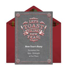 Customizable, free Toast the New Year online invitations. Easy to personalize and send for a New Year's Eve party. #punchbowl