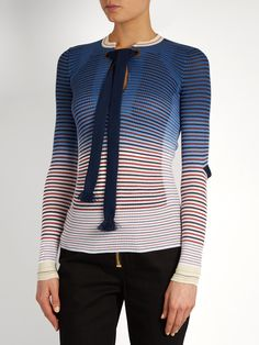 Click here to buy Sonia Rykiel Tie-neck striped ribbed-knit sweater at MATCHESFASHION.COM