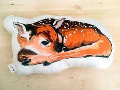 Organic Cotton Animal Pillow in Sleeping Deer by blackdogcircus