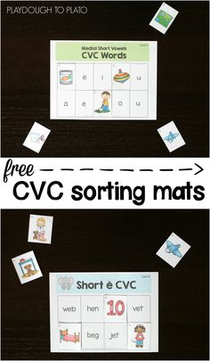 FREE CVC Sorting Mats. Such a simple, effective way to help kids learn short vowel sounds.