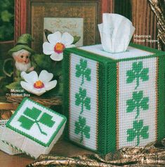 SHAMROCK TISSUE TOPPER COVER & BOX PLASTIC CANVAS PATTERN INSTRUCTIONS…