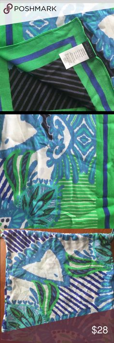 """Stella & Dot Union Square Scarf-Spring Green Mix Beautiful colors! So fun! This scarf comes with a matching carryall bag. The scarf is lightweight and measures 38""""x 70"""", it is 100% viscose.Love these gorgeous colors! Stella & Dot Accessories Scarves & Wraps"""