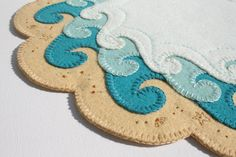 The Shore Penny Rug Wool Felt applique Finished Design Limited Edition table art…