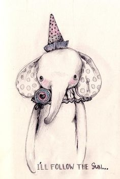 Elephant, Illustration, Sketch, Cute, Party Animal, Subdued, Creative, 'I Follow the Sun'