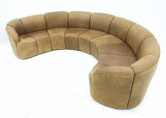 Half Round Leather Sofa By Walter Knoll, Late 1960s