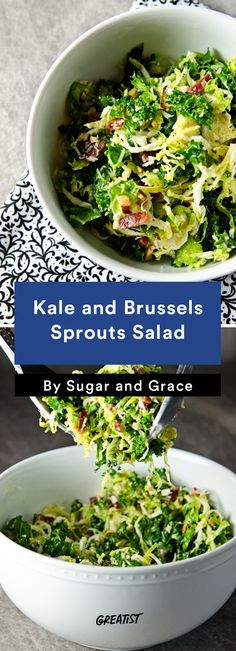 3. Kale and Brussels Sprouts Salad #healthy #fall #salads http://greatist.com/eat/healthy-fall-salad-recipes