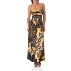 Strapless Maxi Dress black brown gold
