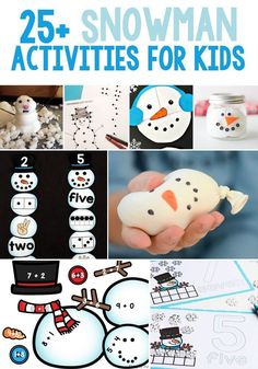 Snowman activities that kids will love! These kids activities include math, science, literacy, sensory and crafts! Preschoolers and kindergartners will love learning with these great winter snowman activities! Print out these printables today! Snow Activities, Educational Activities For Kids, Christmas Activities For Kids, Art Therapy Activities, Winter Crafts For Kids, Preschool Themes, Toddler Activities, Preschool Activities, Kids Crafts