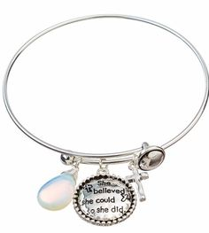 """NWT SILVER """"SHE BELIEVED SHE COULD SO SHE DID"""" SLIDING CHARM BRACELET #RainJewelryCollection #Slide"""