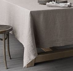 Restoration Hardware Stonewashed Belgian Linen Hemstitch Tablecloth: http://www.stylemepretty.com/living/2015/11/21/thanksgiving-dinner-table-linens-and-decor/