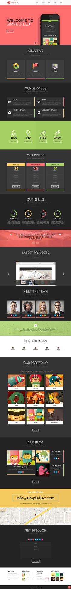 Flat One Page WordPress Theme. Great use of design principles. Like the layout and waypoints. Flat Web Design, Interaktives Design, Design Plat, Page Design, Layout Design, Web Responsive, Ui Web, Website Layout, Web Layout