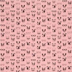 pink double gauze dog animal glasses Kokka fabric 2