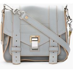 PROENZA SCHOULER Grey  Banana Yellow Leather Ps1 Pouch Shoulder Bag ($1,725) ❤ liked on Polyvore - Click image to find more Womens Fashion Pinterest pins