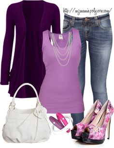 A fashion look from February 2013 featuring purple jersey, purple tank and blue skinny jeans. Browse and shop related looks. Purple Outfits, Dressy Outfits, Stylish Outfits, Cool Outfits, Casual Attire, Jean Outfits, Casual Chic, Winter Outfits, Purple Fashion