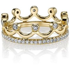 Women's Diamond Ring by Erica Courtney Princess Crown Ring ($6,320) ❤ liked on Polyvore featuring jewelry, rings, accessories, diamond accent jewelry, fine jewelry, band rings, erica courtney jewelry and crown rings