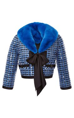 Fur-Collared Sequin-Embellished Tweed Jacket by Marc Jacobs - Moda Operandi