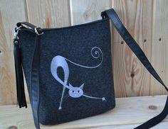 SUMMER SALEFelt crossbody bag Women felt bag Cat by BPStudioDesign