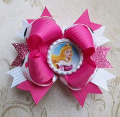 Aurora hair bow Disney hair clip bottle cap boutique headband cute girls over the top Pink Princess Sleeping Beauty