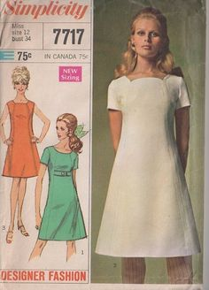 MOMSPatterns Vintage Sewing Patterns - Simplicity 7717 Vintage 60's Sewing Pattern BEAUTY Mod Designer Fashion Shaped Front Panel & Neckline Fit & Flared Space Age Party Dress