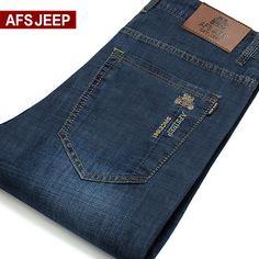 正品男士AFS jeep春夏季超薄款牛仔裤男修身直筒男裤大码长裤子潮