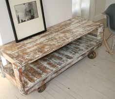SALE TV Console Industrial Reclaimed Wood by CamilleMontgomery Reclaimed Wood Tv Stand, Reclaimed Furniture, Pallet Furniture, Painted Furniture, Furniture Ideas, Pallet Crates, Wood Pallets, Decoration Palette, Palette Deco
