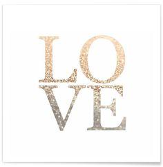 Gold LOVE als Premium Poster von Monika Strigel | JUNIQE