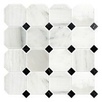 Hampton Hermosa Polished Octagon Marble Mosaic Tile - 3 x 3 in. $14.99 Sq Ft      Coverage 10.00 Sq Ft per  Box