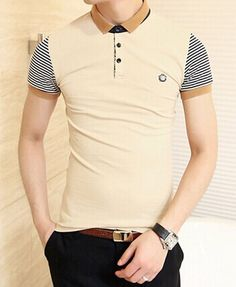 Stylish Color Block Turn-down Collar Stripes Short Sleeves Polyester Polo Shirt…