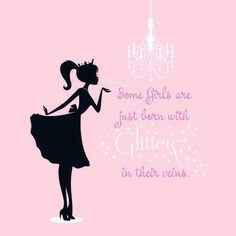 glitter princess silhouette vinyl wall decal with quotes - princess wall quotes wall Sparkle Quotes, Pink Quotes, Glitter Quote, Glitter Girl, Sparkles Glitter, I Believe In Pink, Pink Love, Pretty In Pink, Rose Hill Designs